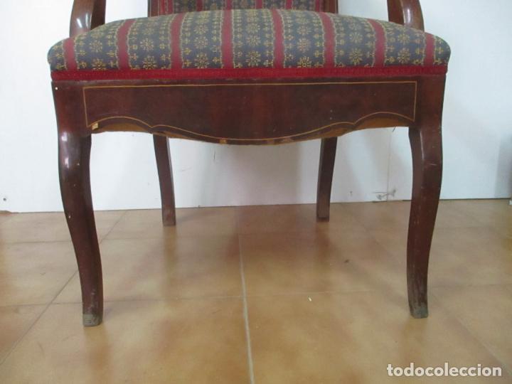 Antigüedades: Antiguo Sillón Isabelino - Madera de Caoba - Ideal Despacho, Decoración - S, XIX - Foto 6 - 163680938