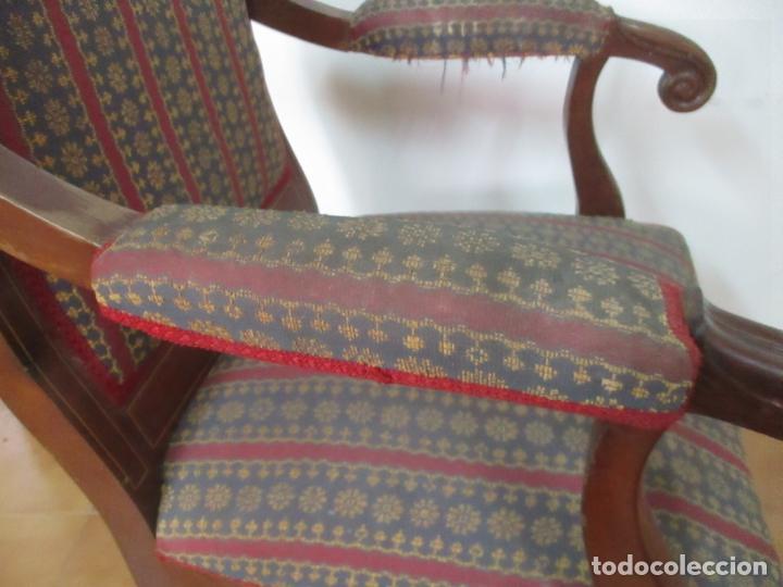 Antigüedades: Antiguo Sillón Isabelino - Madera de Caoba - Ideal Despacho, Decoración - S, XIX - Foto 14 - 163680938