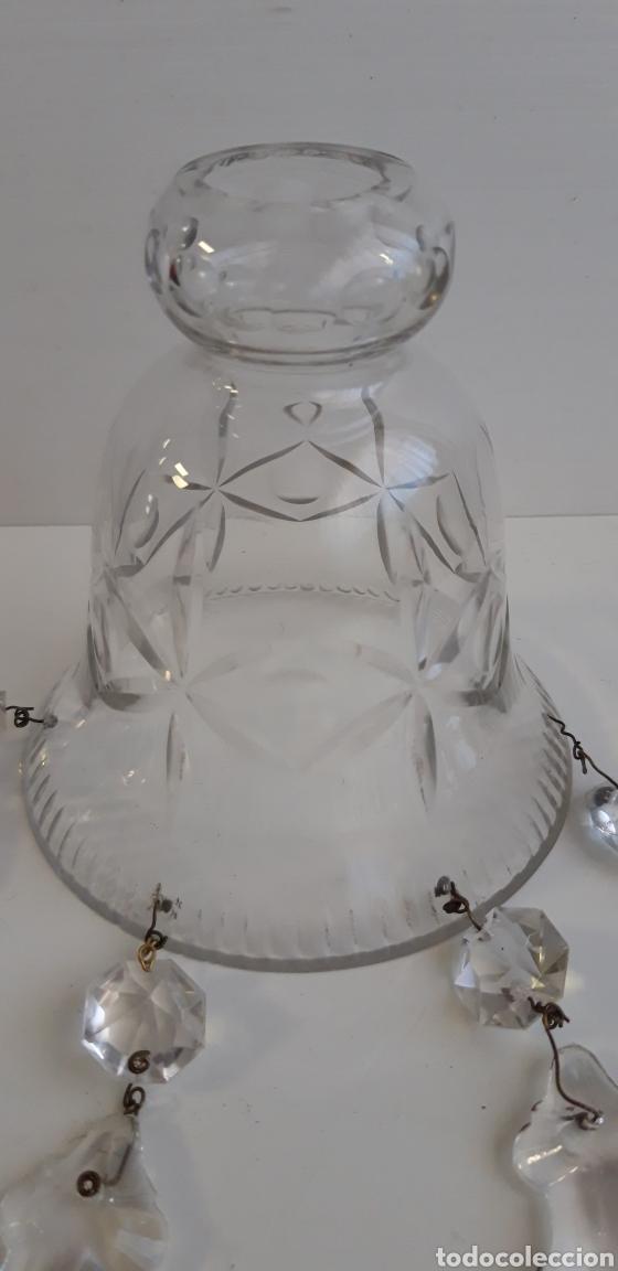 Antigüedades: Antigua tulipa de cristal tallado con lagrimas - Foto 2 - 163691137