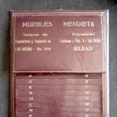Antigüedades: ANTIGUO LISTÍN TELEFÓNICO EN PIEL. PUBLICIDAD MUEBLES MENDIETA, EBANISTERÍA. LAS ARENAS, BILBAO.. Lote 163726206