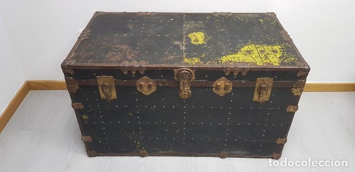 S9- ANTIGUO BAUL VIAJE BARCO MUY COMPLETO 102X56X58 (Antigüedades - Muebles Antiguos - Baúles Antiguos)