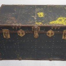 Antigüedades: S9- ANTIGUO BAUL VIAJE BARCO MUY COMPLETO 102X56X58. Lote 163740254
