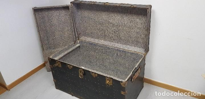 Antigüedades: S9- ANTIGUO BAUL VIAJE BARCO MUY COMPLETO 102X56X58 - Foto 6 - 163740254