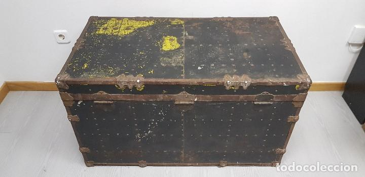 Antigüedades: S9- ANTIGUO BAUL VIAJE BARCO MUY COMPLETO 102X56X58 - Foto 8 - 163740254