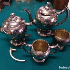 Antigüedades: ANTIGUO JUEGO DE CAFE/TE ALPACA PLATEADA MARCAJE EN BASE CUATRO PIEZAS CON INCIALES GRABADAS. Lote 163741682