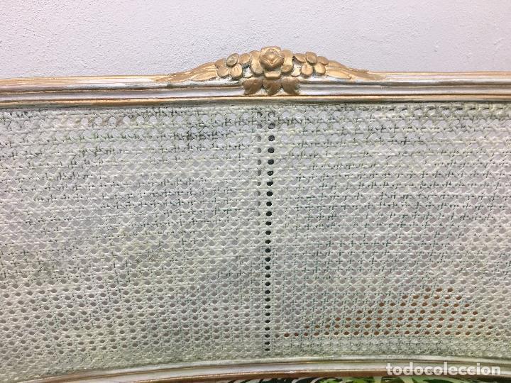 Antigüedades: SOFA DE 2 PLAZAS ESTILO ISABELINO CON RESPALDO DE REJILLA - RESTAURADO - 129 CMS. DE LARGO - Foto 7 - 163750822