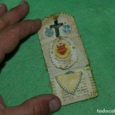 Antigüedades: RARISIMO DETENTE BALA RELICARIO ESCAPULARIO SAGRADO CORAZON PROTECTOR INGLES AÑOS 30 GUERRA CIVIL. Lote 163795182