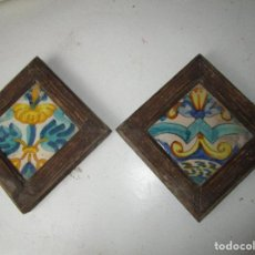 Antigüedades: PRECIOSA PAREJA AZULEJO ANTIGUO SXVII. Lote 163796578