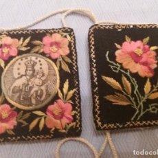 Antigüedades: ESCAPULARIO VIRGEN CARMEN S.XVIII.BORDADO MANO. Lote 163957810