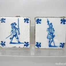 Antigüedades: SIGLO XVII XVIII . LOTE 2 AZULEJOS DUTCH DELFT . SERIE AZUL . SOLDADOS GUERREROS. Lote 163960306