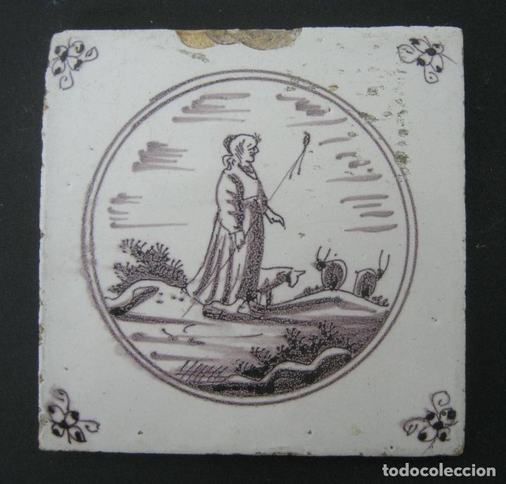 BELLO AZULEJO DELFT S.XVIII MANGANESO - PASTORA (Antigüedades - Porcelanas y Cerámicas - Azulejos)