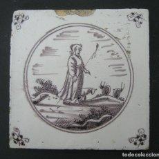 Antigüedades: AZULEJO DELFT S.XVIII MANGANESO. Lote 163968270