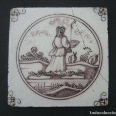 Antigüedades: AZULEJO DELFT S.XVIII MANGANESO. Lote 163968538