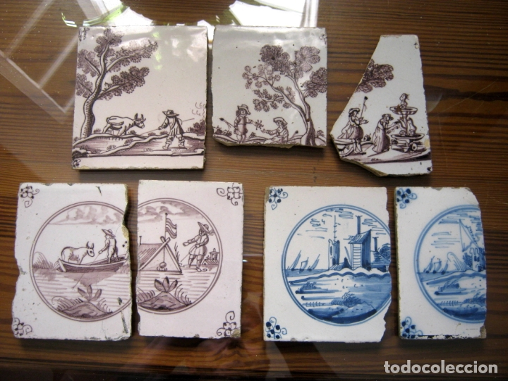 LOTE AZULEJOS MUY BELLOS S.XVII Y XVIII (Antigüedades - Porcelanas y Cerámicas - Azulejos)