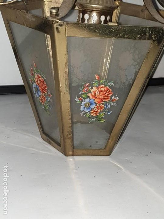 Antigüedades: FAROL CRISTAL METAL - Foto 2 - 163979946