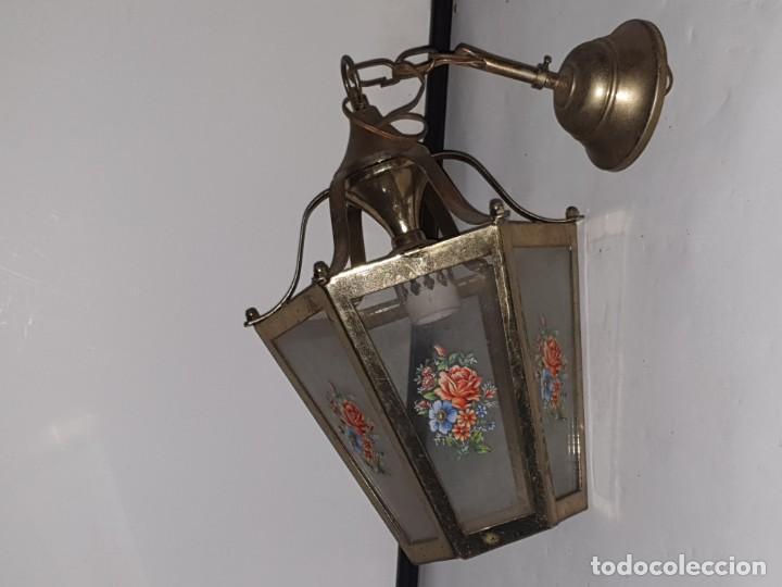 Antigüedades: FAROL CRISTAL METAL - Foto 4 - 163979946