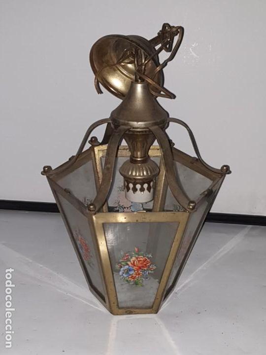 Antigüedades: FAROL CRISTAL METAL - Foto 5 - 163979946