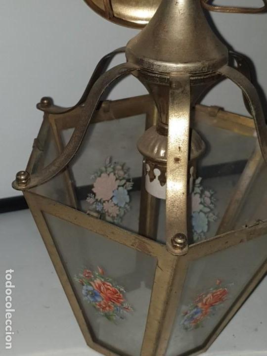 Antigüedades: FAROL CRISTAL METAL - Foto 6 - 163979946
