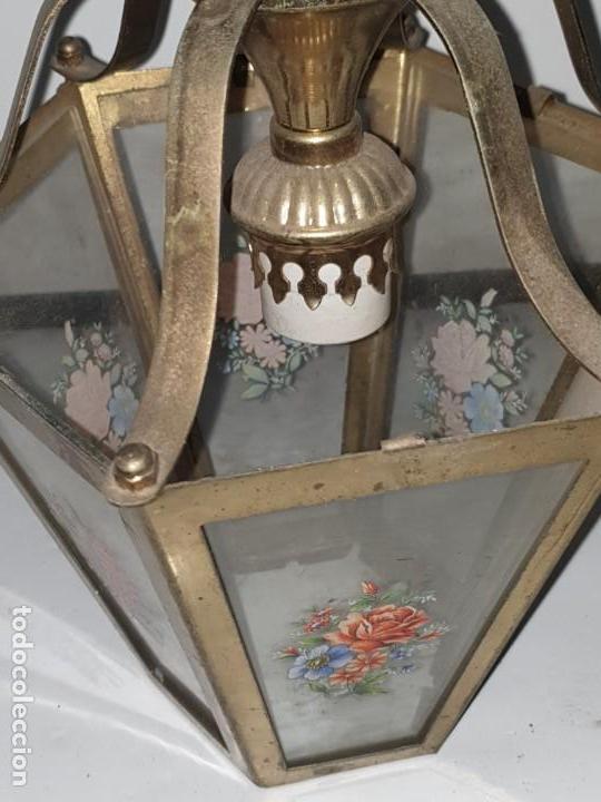 Antigüedades: FAROL CRISTAL METAL - Foto 7 - 163979946