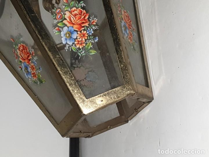 Antigüedades: FAROL CRISTAL METAL - Foto 8 - 163979946