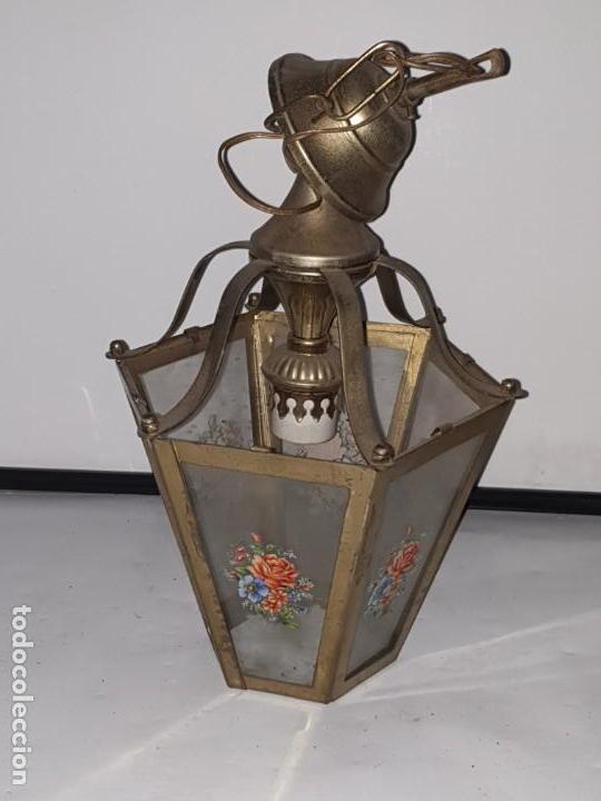 Antigüedades: FAROL CRISTAL METAL - Foto 3 - 163979946