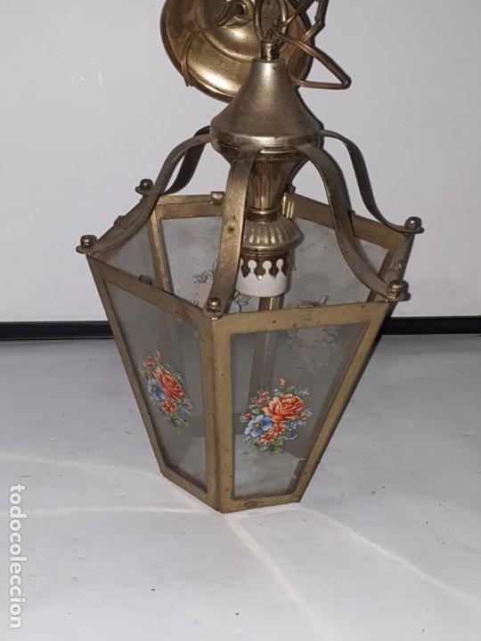 FAROL CRISTAL METAL (Antigüedades - Iluminación - Faroles Antiguos)