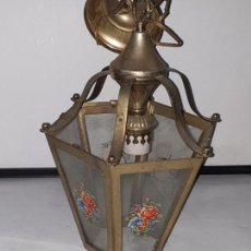Antigüedades: FAROL CRISTAL METAL. Lote 163979946