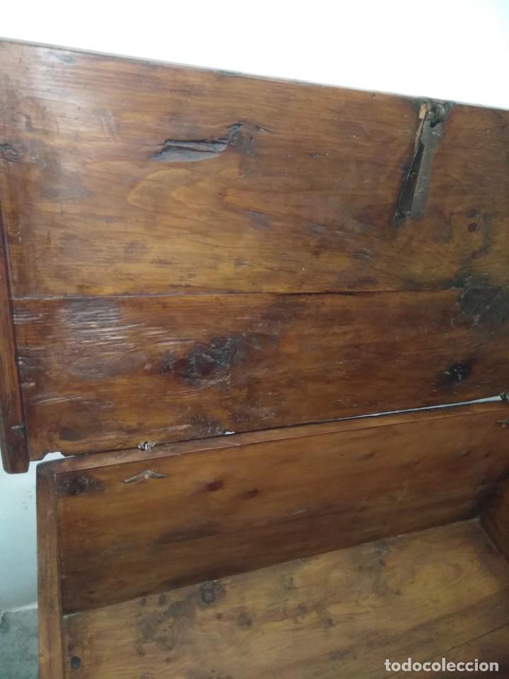 Antigüedades: BONITA ARCA BAUL CON CERRADURA Y LLAVE ENSAMBLE COLA DE MILANO 99 CM DE LONGITUD INICIOS SIGLO XIX - Foto 15 - 163989974