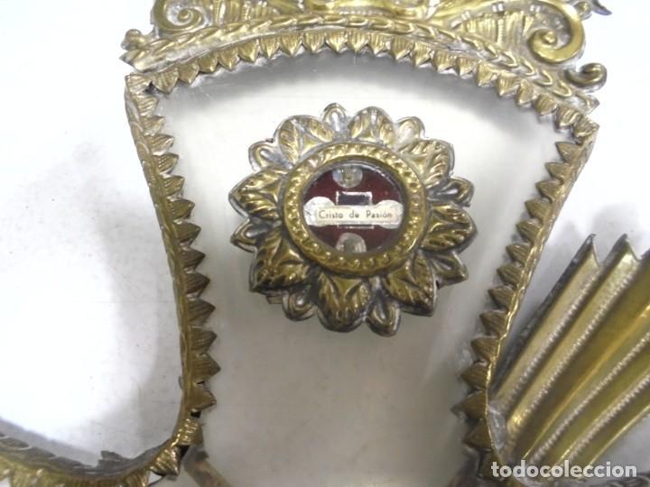 Antigüedades: ANTIGUA CRUZ. RELIQUIA. METAL. NOMBRES DE IMAGENES. VIRGEN DE LOS REYES, DEL ROCIO, MACARENA. VER - Foto 3 - 164120458