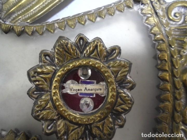 Antigüedades: ANTIGUA CRUZ. RELIQUIA. METAL. NOMBRES DE IMAGENES. VIRGEN DE LOS REYES, DEL ROCIO, MACARENA. VER - Foto 5 - 164120458