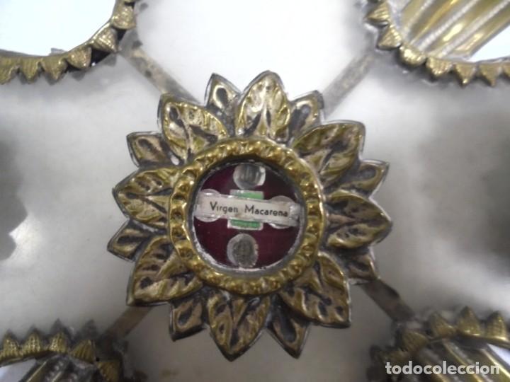 Antigüedades: ANTIGUA CRUZ. RELIQUIA. METAL. NOMBRES DE IMAGENES. VIRGEN DE LOS REYES, DEL ROCIO, MACARENA. VER - Foto 6 - 164120458