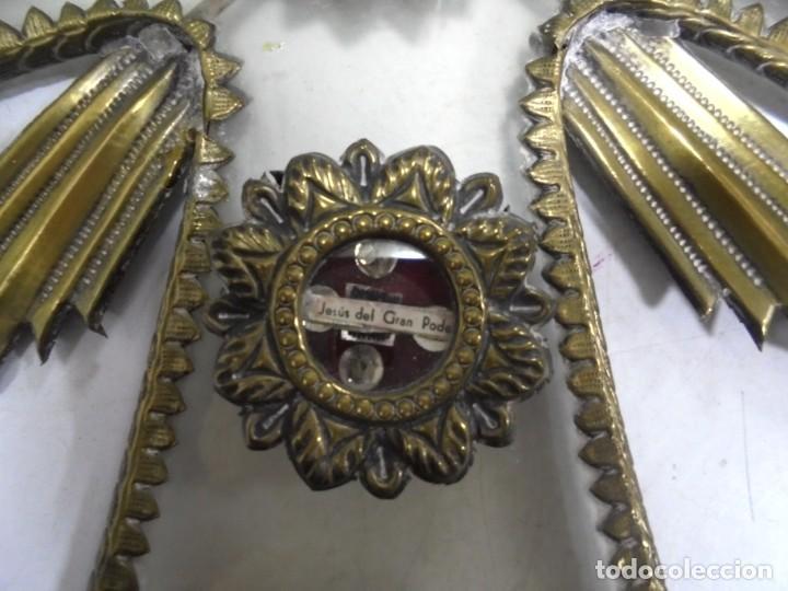 Antigüedades: ANTIGUA CRUZ. RELIQUIA. METAL. NOMBRES DE IMAGENES. VIRGEN DE LOS REYES, DEL ROCIO, MACARENA. VER - Foto 8 - 164120458