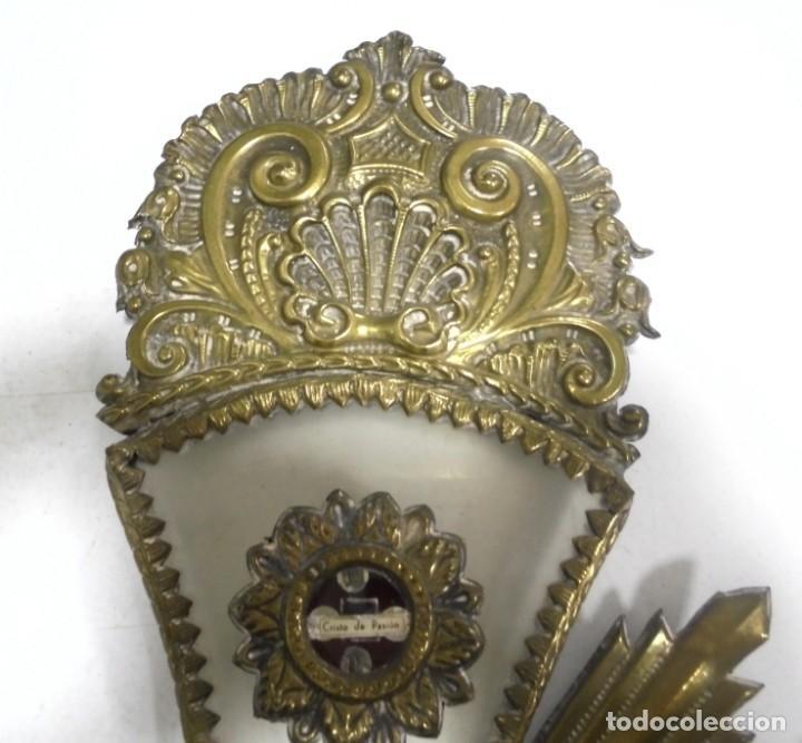 Antigüedades: ANTIGUA CRUZ. RELIQUIA. METAL. NOMBRES DE IMAGENES. VIRGEN DE LOS REYES, DEL ROCIO, MACARENA. VER - Foto 10 - 164120458