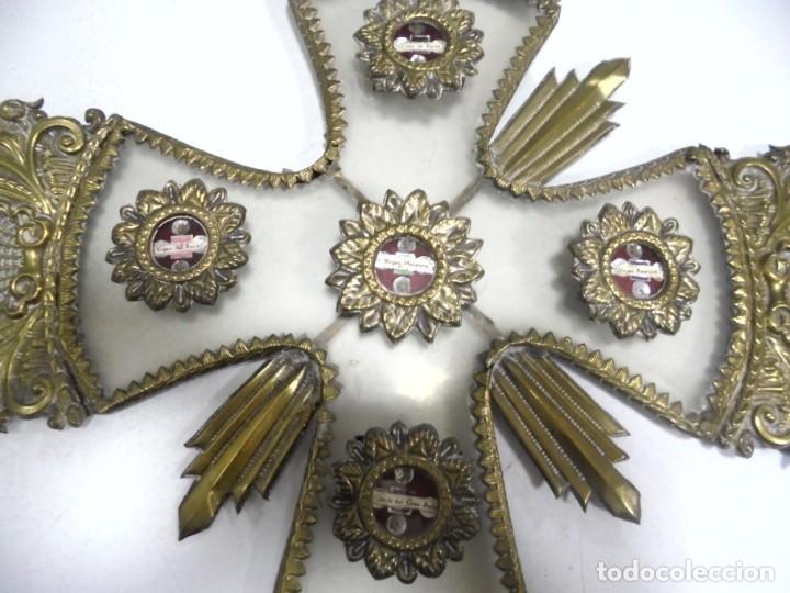 Antigüedades: ANTIGUA CRUZ. RELIQUIA. METAL. NOMBRES DE IMAGENES. VIRGEN DE LOS REYES, DEL ROCIO, MACARENA. VER - Foto 11 - 164120458