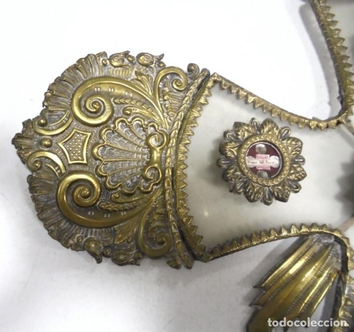 Antigüedades: ANTIGUA CRUZ. RELIQUIA. METAL. NOMBRES DE IMAGENES. VIRGEN DE LOS REYES, DEL ROCIO, MACARENA. VER - Foto 12 - 164120458
