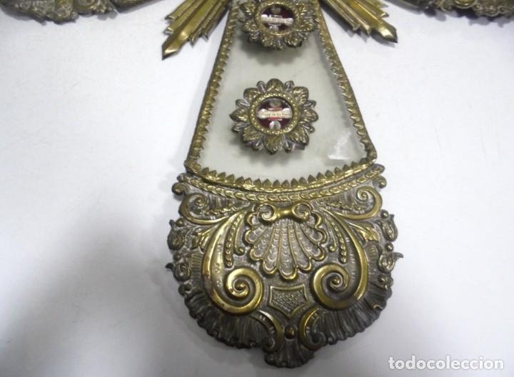 Antigüedades: ANTIGUA CRUZ. RELIQUIA. METAL. NOMBRES DE IMAGENES. VIRGEN DE LOS REYES, DEL ROCIO, MACARENA. VER - Foto 14 - 164120458