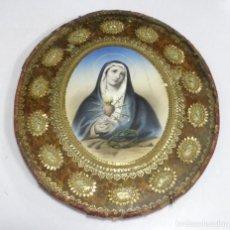 Antigüedades: ANTIGUA RELIQUIA RELIGIOSA. VIRGEN CORAZON SIETE PUÑALES. CADA CIRCULO UN SANTO. VER. Lote 164127202