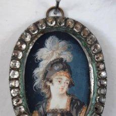 Antigüedades: MINIATURA DIOSA MINERVA PINTADA SOBRE MARFIL.SIGLO XVIII. Lote 164184446