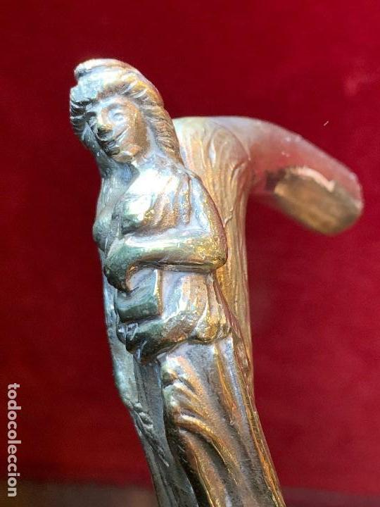 Antigüedades: BASTÓN CON EMPUÑADURA DE PLATA CON CONTRASTE (G) - Foto 4 - 164196554