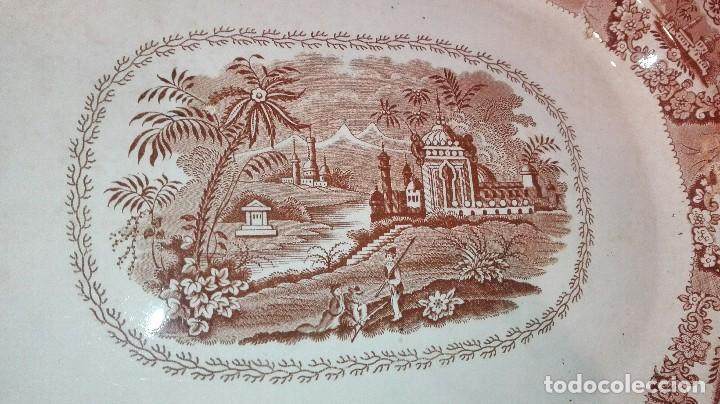 Antigüedades: ESPECTACULAR BANDEJA DE GRAN TAMAÑO DECORADA EN MARRÓN - Foto 2 - 164336538
