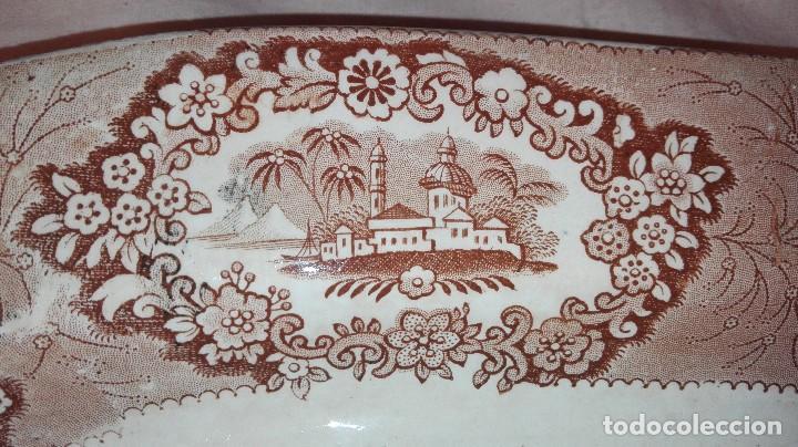 Antigüedades: ESPECTACULAR BANDEJA DE GRAN TAMAÑO DECORADA EN MARRÓN - Foto 4 - 164336538