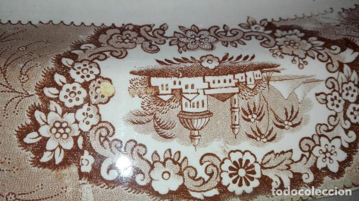 Antigüedades: ESPECTACULAR BANDEJA DE GRAN TAMAÑO DECORADA EN MARRÓN - Foto 5 - 164336538