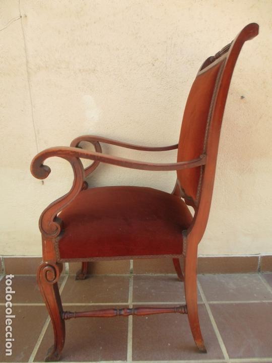 Antigüedades: Pareja de Sillones - Sillón, Madera de Haya Color Caoba - Tapicería en Terciopelo Rojo - Años 40 - Foto 6 - 164410162