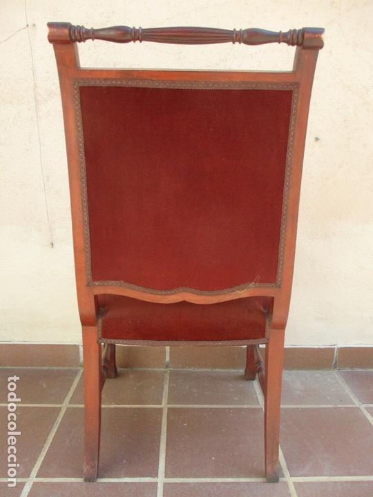 Antigüedades: Pareja de Sillones - Sillón, Madera de Haya Color Caoba - Tapicería en Terciopelo Rojo - Años 40 - Foto 9 - 164410162