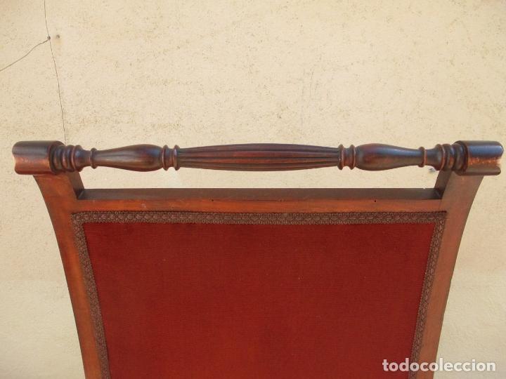 Antigüedades: Pareja de Sillones - Sillón, Madera de Haya Color Caoba - Tapicería en Terciopelo Rojo - Años 40 - Foto 11 - 164410162