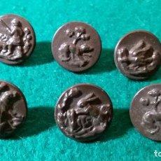 Antigüedades: LOTE 6 BOTONES TEMA CAZA ANIMALES EN METAL. Lote 256012685