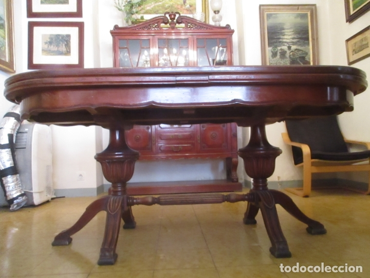 Antigüedades: Mesa de Comedor, Ovalada - Extensible - Madera de Haya, Color Caoba - 2 Patas Talladas - Años 40 - Foto 3 - 164455278