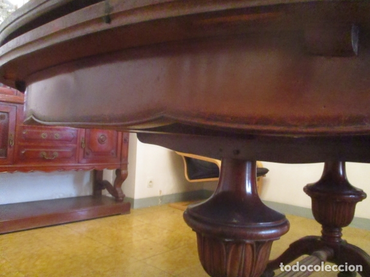 Antigüedades: Mesa de Comedor, Ovalada - Extensible - Madera de Haya, Color Caoba - 2 Patas Talladas - Años 40 - Foto 8 - 164455278