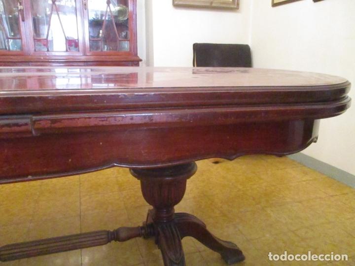 Antigüedades: Mesa de Comedor, Ovalada - Extensible - Madera de Haya, Color Caoba - 2 Patas Talladas - Años 40 - Foto 13 - 164455278