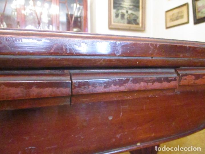 Antigüedades: Mesa de Comedor, Ovalada - Extensible - Madera de Haya, Color Caoba - 2 Patas Talladas - Años 40 - Foto 14 - 164455278